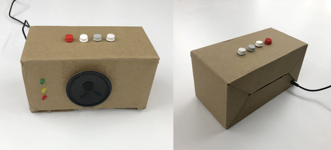 two image of a box with four buttons and a speaker, one shot from the front and one from behind